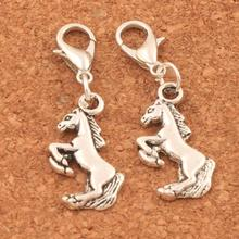 26pcs Jumping Horse Clasp European Lobster Trigger Clip On Charm Beads 15x34mm Antique Silver C053