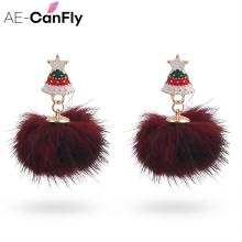 AE-CANFLY Trendy Christmas Tree Stud Earring Faux Fur Ball Ear Stud Jewelry Nice New Year Girlfriend brincos Gift Wholesale