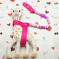 Sophie the giraffe strap harness toy saver leash holder anti lost teether clip chain with beads special on baby stroller