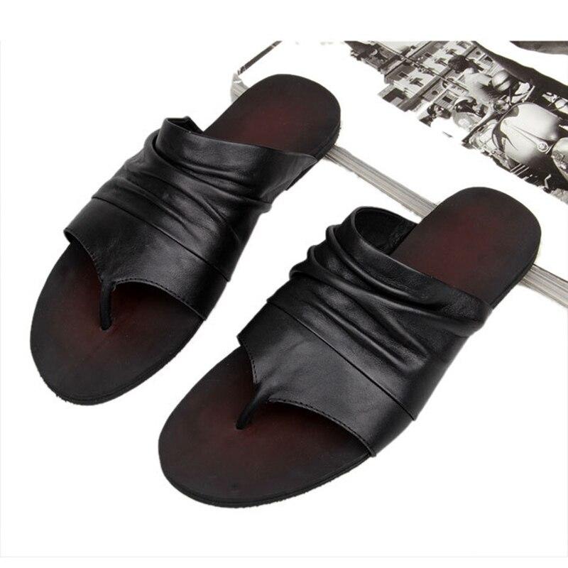 ONS 6 10 Mannen Vintage Lederen Casual Flip Flop Slipper Casual Strand Sandalen Zomer Outdoor Schoenen - 4