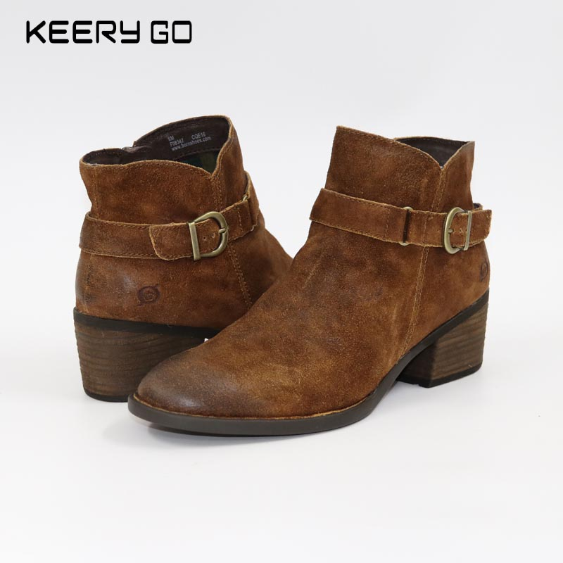 Cowhide fashion vintage elegant all-match female boots queen 35 - 41 irst layer of cowhide handsome female ankle boots fashion boots pull style all match elegant 6 8 5