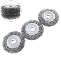 3pcs 100mm Diameter Stainless Steel Wire Polishing Brush Wheels Set With 16mm Hole And Parallel Shape