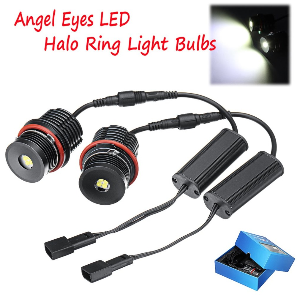 2pcs 80W Angel Eyes Error Free LED Halo Ring Light Bulbs For BMW E39 E53 E60 E63 Super Bright Car Front Light Lamp Headlight Hot встраиваемая акустика трансформаторная turbosound athens tcs52c t wh