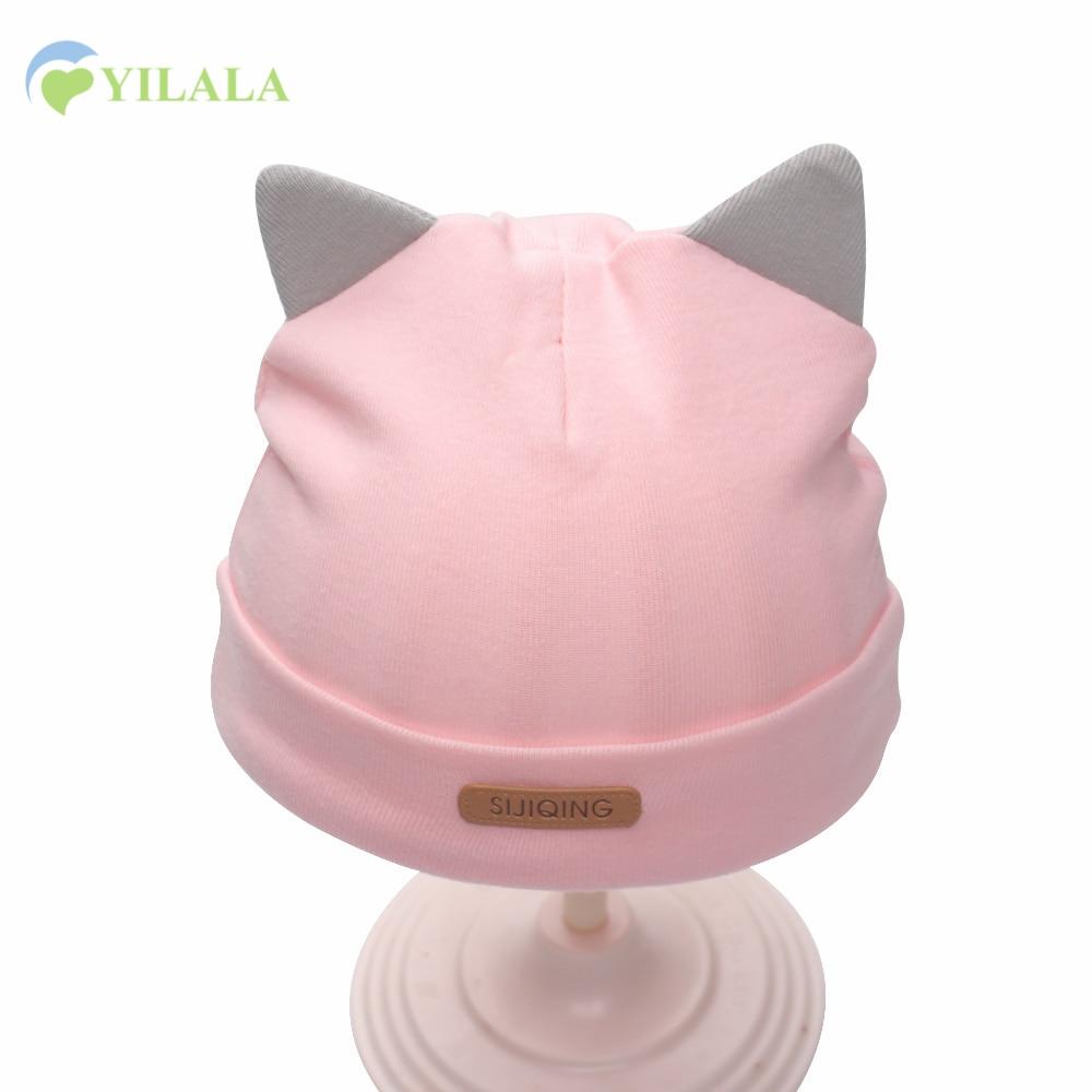 Katt nyfödda babyhattar bomullsfasta däck kepsar blommaflickor mössa hattar med öron vår sommar baby hattar baby pojkar kläder