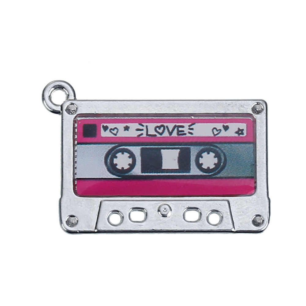 "DoreenBeads Zinc metal alloy Charm Pendants Cassette Tape Silver Tone Heart Inlaid 29mm(1 1/8"")x19mm(6/8""),1 Pc"