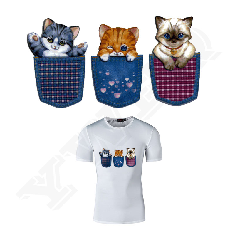 Cartoon schattige dierenpatronen Patch grote maat Schattige kat / hond patches voor kleding opstrijkbare overdrachten DIY T-shirt doek Stickers
