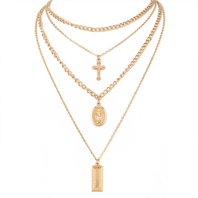 brixini.com - Virgin Mary Cross Pendant Chain Multilayered Necklace