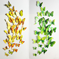 Hot Sale 3D Butterfly Wall Decals12pcs 6big+6small PVC 3D Butterfly Wall Sticker for Home Decoration