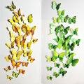 Hot Sale Decals12pcs 6big + 6 pequeno PVC 3D adesivos de Parede Borboleta 3D Butterfly Adesivos de Parede para a Decoração Home