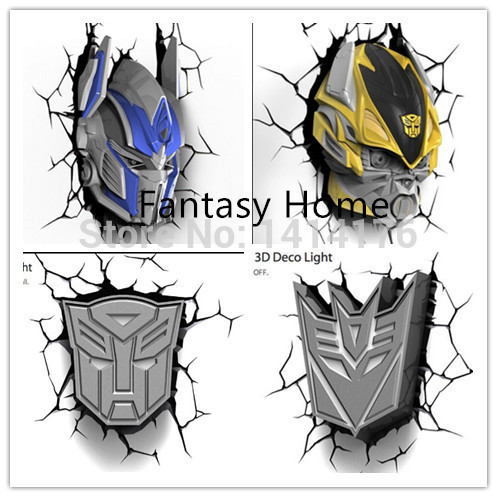 Limited Transformation OptimusPrime Bumblebee Megatron 3D Wall Lamp Amazing Room Decoration Light Lampada de parede Xmas Gift hot sell sports series 2014 brazil world cup football 3d wall lamp amazing room decoration light lampada de parede xmas gift