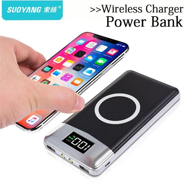 Banco de la energía 30000 mah batería externa cargador inalámbrico incorporado cargador portátil QI cargador inalámbrico para iPhone Samsung
