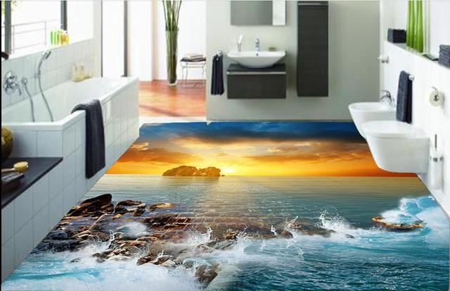 Splendida hd 3d pavimentazione bel tramonto 3d acqua pavimento