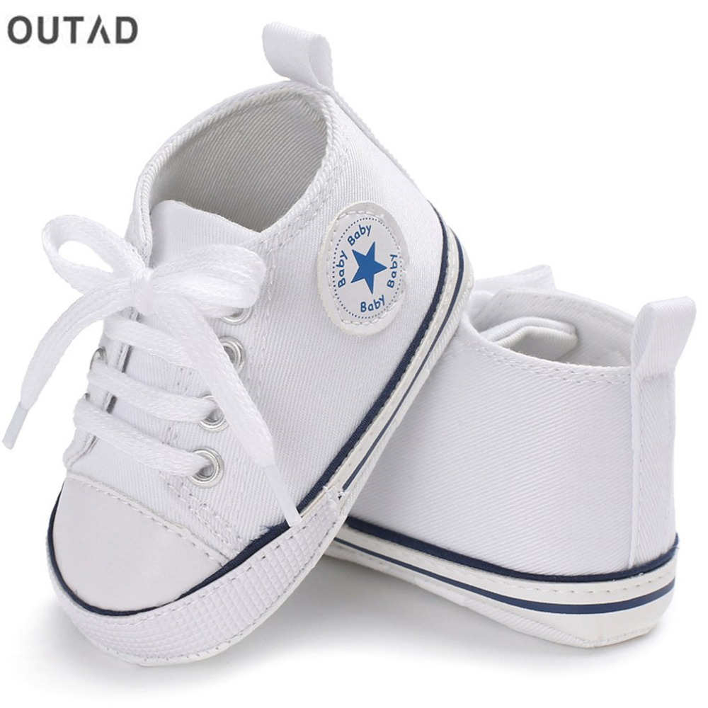 Baby Boys Girls First Walkers Shoes Canvas Classic Sports Sneakers Newborn Solid Color Lace-up Soft Sole Anti-slip Baby Shoes