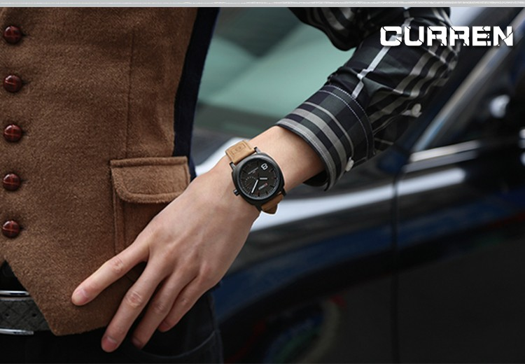 CURREN Original Brand Men Watch Luxury Leather Strap Quartz Watch Waterproof Clock 8139 23