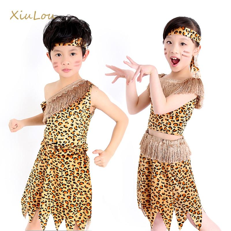 Children African Tribal Hunter Cosplay Dress Leopard -1317