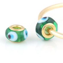 10 шт в партии стеклянные зеленые бусины круглой формы с глазами