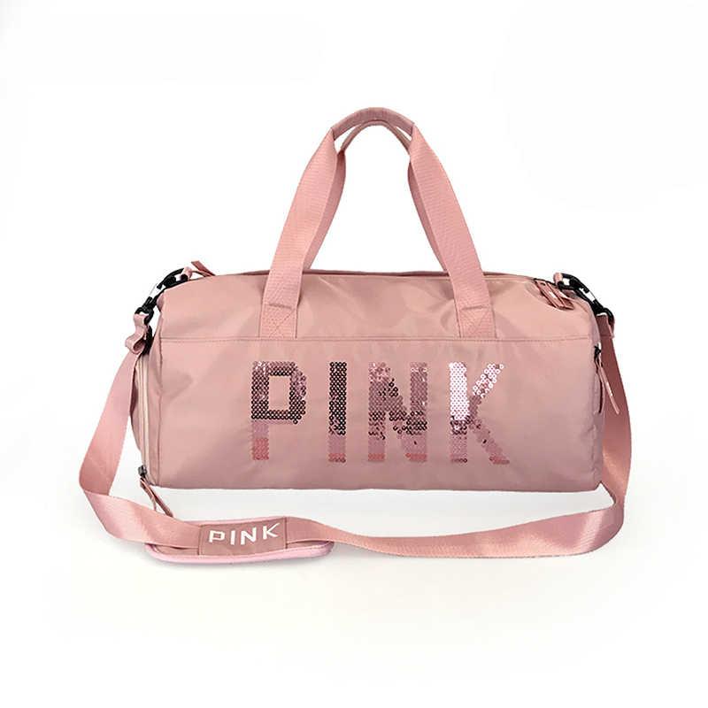 2019 New Sequins Pink Letters Gym Fitness Sports Bag Handbag Shoulder Yoga Female Waterproof Sport Bags For Training