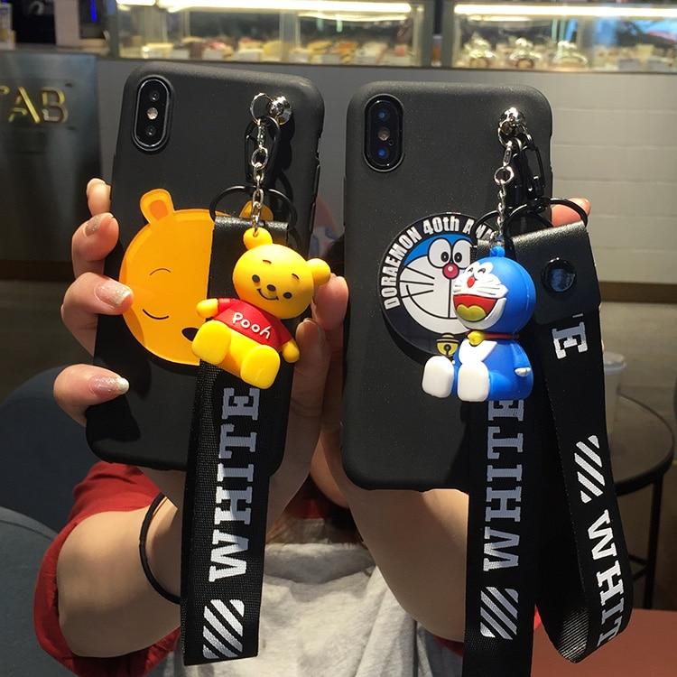 3D mignon winnie Doraemon Doux Cas stander Sangle Pour Xiao mi 8 mi 6 5 5S A1 5X MAX 2 rouge mi 5 plus Note 5A 4x4 4A NOTE 5Pro Pooh
