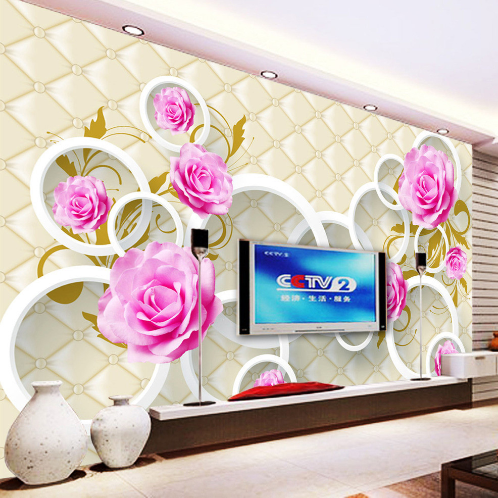 Custom Printed-Wallpaper European Style Rose Flower 3D Soft Case Leather TV Background Mural Wall Paper Living Room Sofa Bedroom