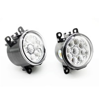 2pcs Car Styling Round Front Bumper LED Fog Lights DRL Daytime Running Driving Yellow For MITSUBISHI