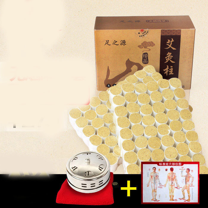 108 pcs five years Ai-chu pure moxibustion moxa stick wormwood leaves acupuncture massage mox boxes eye and facial massage 7mm diameter copper moxibustion rod beauty spa with 10 pcs moxa stick acupuncture map