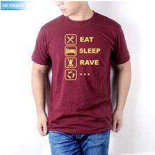 KOLVONANIG 2019 New Eat Sleep Rave Printed T Shirt Cotton Fashion Short Sleeve Mens Clothing Funny DJ Hip Hop T-Shirt Plus Size