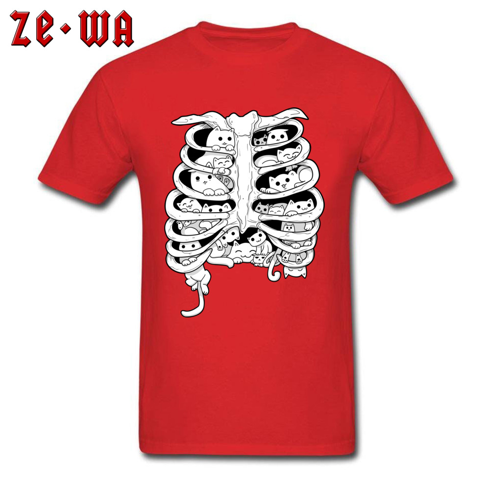 Funny Black T Shirts Little Cats Group On The Skeleton Anatomy Organ Structure Picture Tshirt For Men Cotton Crew Neck Summer in T Shirts from Men 39 s Clothing