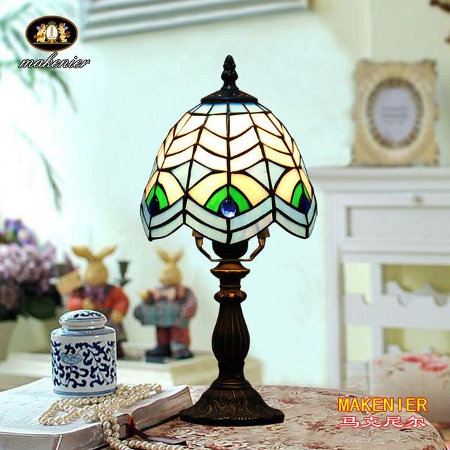 Makenier Vintage Tiffany Style Stained Glass Bedroom Bedside Corner