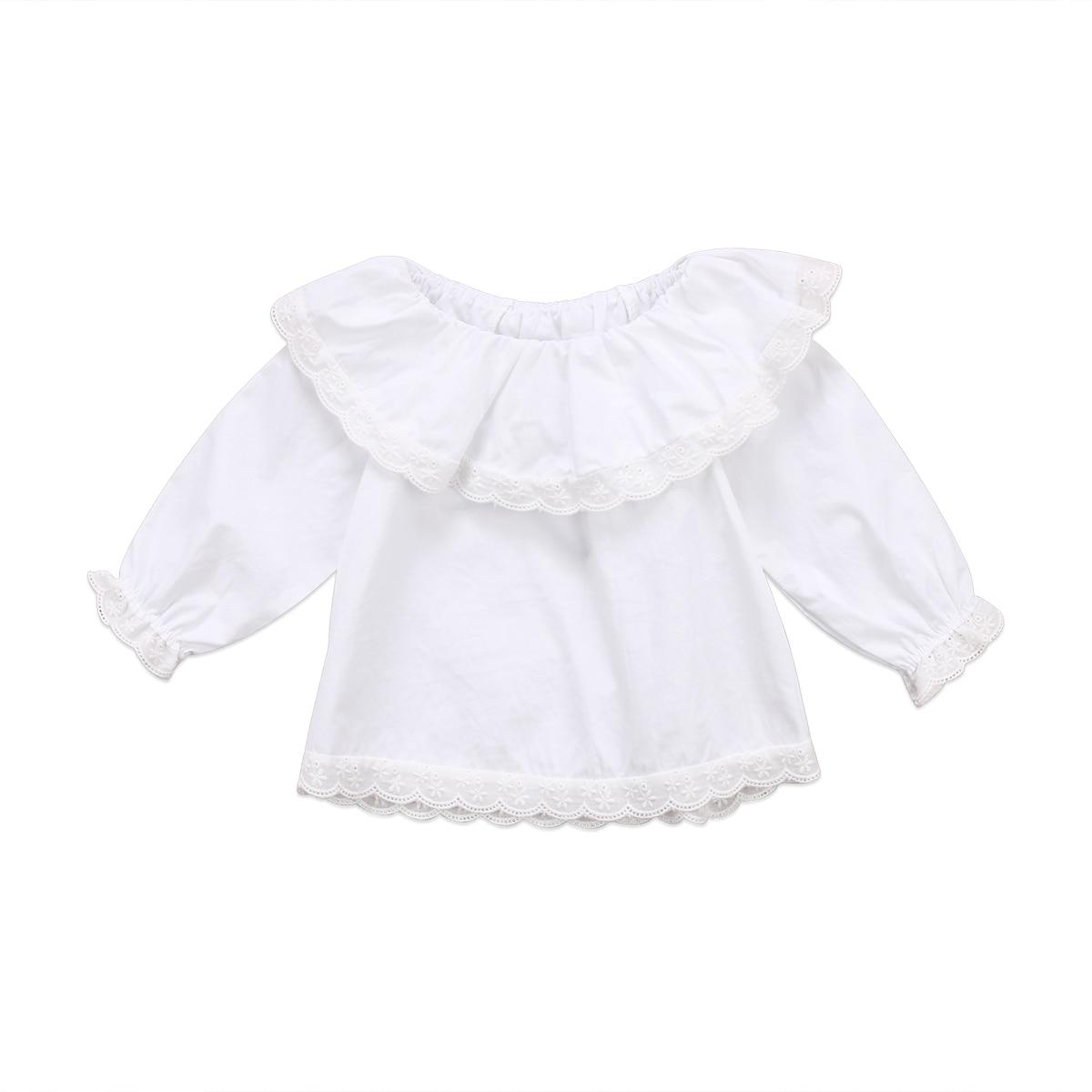 Agressief Bloem Baby Meisjes Tops Pasgeboren Baby Meisjes Prinses Kant Off Shoulder Lange Mouwen Blouse Top Shirt Kleding 0-2 T Compleet In Specificaties