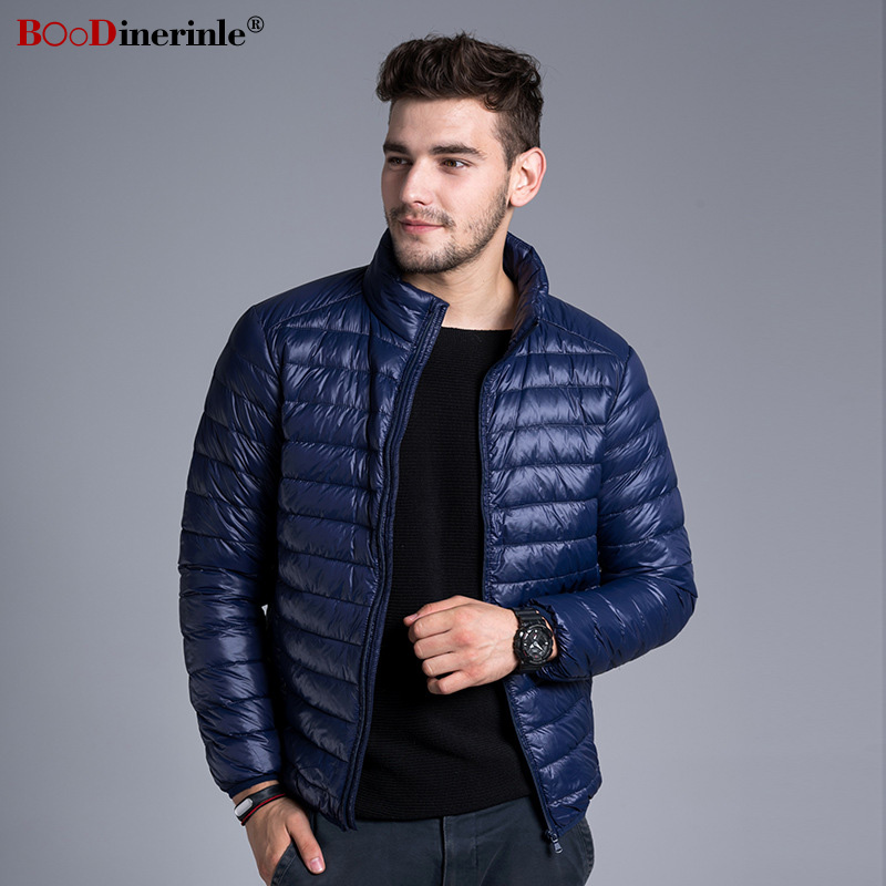 BOoDinerinle 2018 Autumn Men's Jackets 90% White Duck   Down   Jacket Stand Collar Men Winter Ultra Light Thin Slim Basic   Coat   YR177