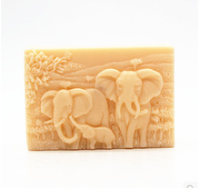 Food Grade Silicone Mold for soap making Rectangle Shape 3D block Soap Elephant Pattern Cake Chocolate Animal Molds