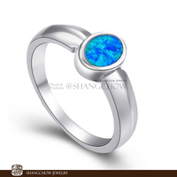 New! Vintage in Fashion Jewelry Blue Fire Opal 925 Sterling Silver women's Ring RP0009