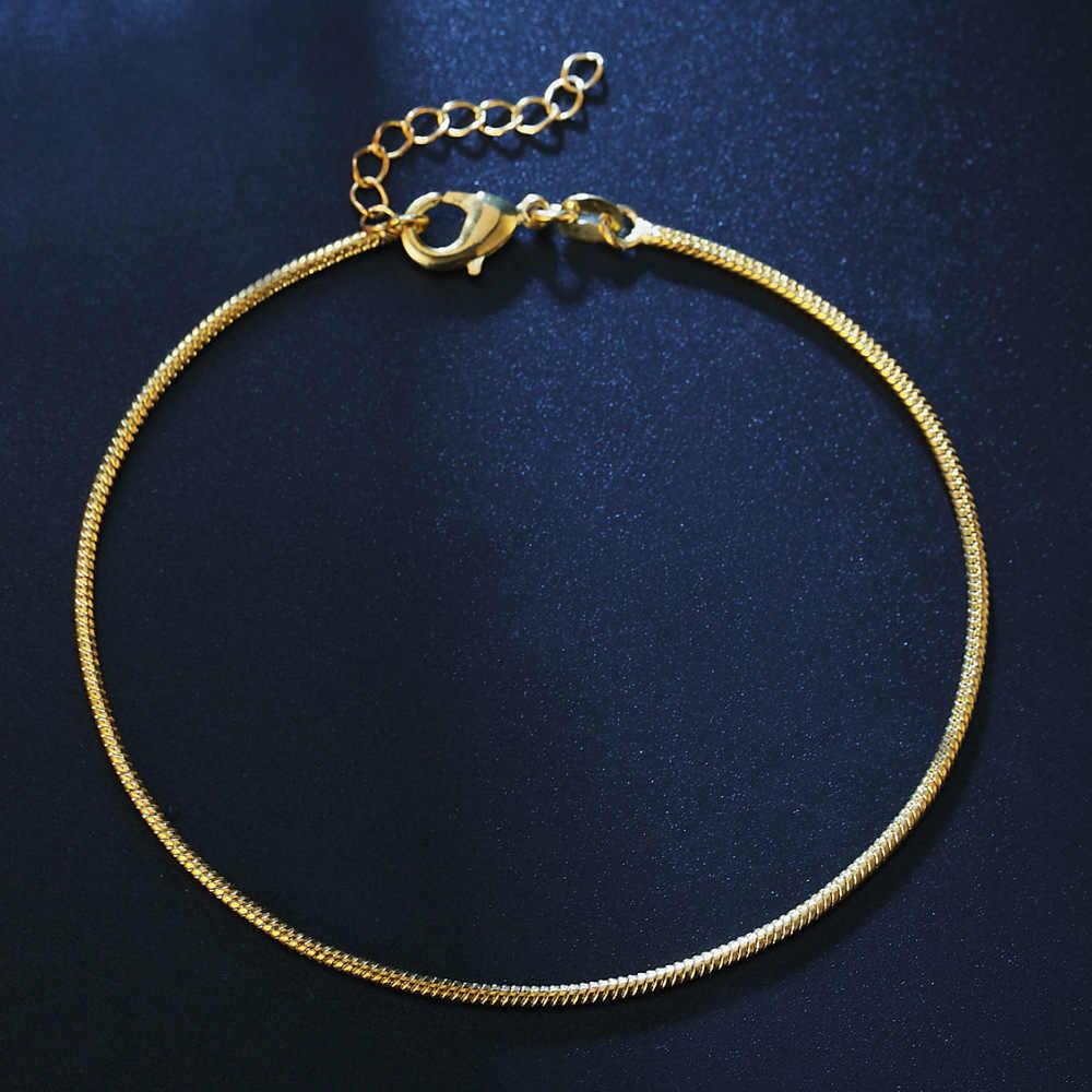 シンプルなヘビチェーン女性銀色/ゴールドカラーのクラシックチェーン足の宝石類のギフトのための