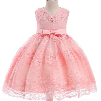 d2d9788d3c 2018 nuevo verano cuello en V vestido de princesa de encaje para niñas  vestidos elegantes para niños vestidos de fiesta de encaje de flores