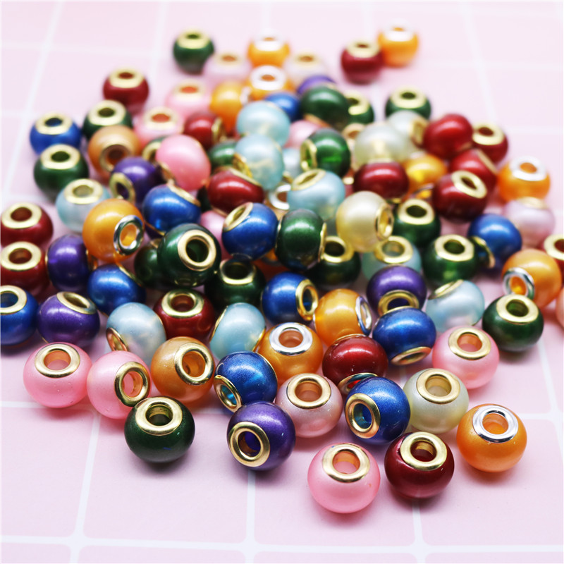 10 Pcs Lot Gold Mixed Color 16mm Big Hole Round Glass Plastic Resin Beads Fit European Pandora Bracelets For DIY Jewelry Making