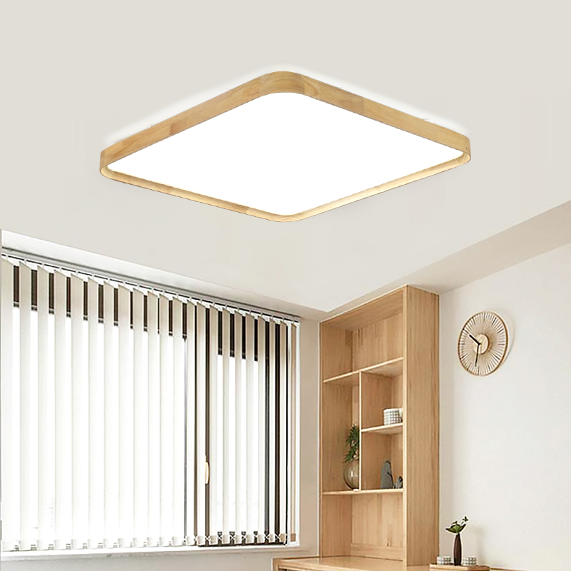 Lights & Lighting Ceiling Lights & Fans 48w Solid Wood Led Ceiling Lamp Ac220v Led Panel Ceiling Light Remote Control Home Cafe Shopping Mall Decoration Ceiling Lamp