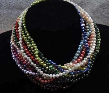 Wholesale 20 strands real multicolor freshwater pearl necklace free shipping