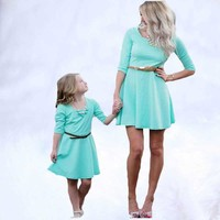 2019 New Mommy and Me Family Matching Clothes Outfits Kids Sky Blue Dresses for Girls mother and daughter dress