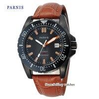 43mm Parnis reloj Diver zafiro vidrio cerámica bisel carcasa de PVD esfera negra luminoso MIYOTA movimiento automático reloj de hombre Relojes mecánicos     -