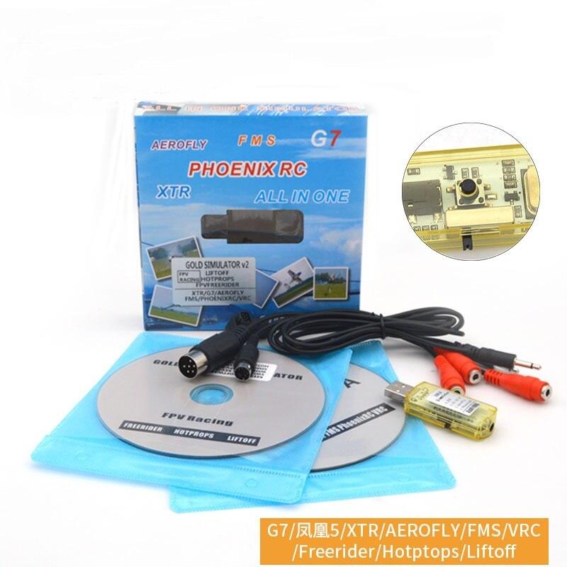 Oyuncaklar ve Hobi Ürünleri'ten Simülatörler'de 22 in 1 Simülatörü RC USB Uçuş Simülatörü Kablosu Desteği Realflight G7/G6 G5.5 G5 Phoenix 5.0 AEROFLY FMS serisi title=