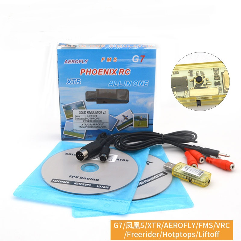 22 In 1 Simulator RC USB Flight Simulator Cable Support Realflight G7/ G6 G5.5 G5 Phoenix 5.0 AEROFLY FMS Series