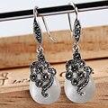Joyería de moda plata de ley 925 Pendientes de piedra del ojo de gato blanco o Pendientes de Ópalo Blanco jade Vintage estilo del gancho del oído para femenino
