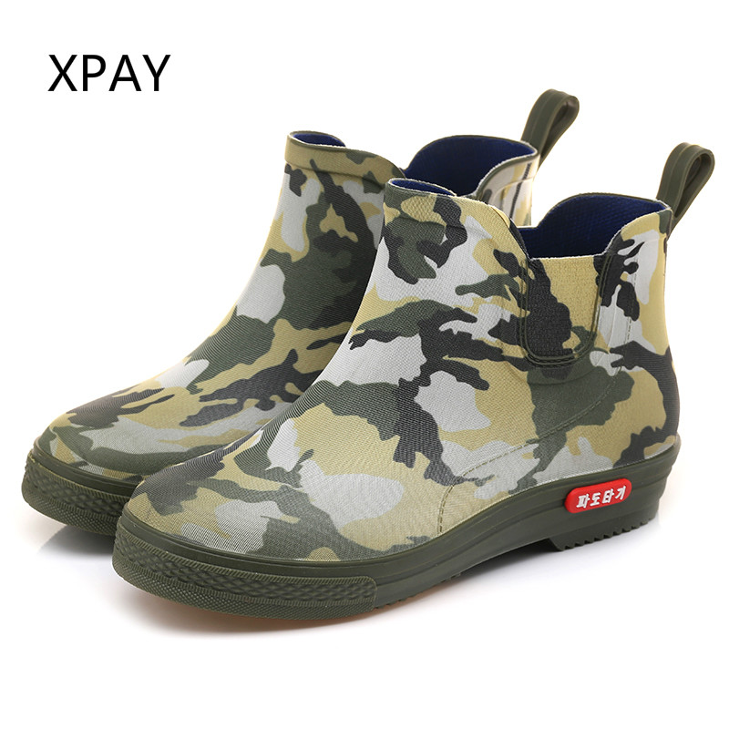 Short Rain Boots PVC Men Camouflage Galoshes Soft Sole Chef Shoes Fishing Gumboots Rubber Shoes