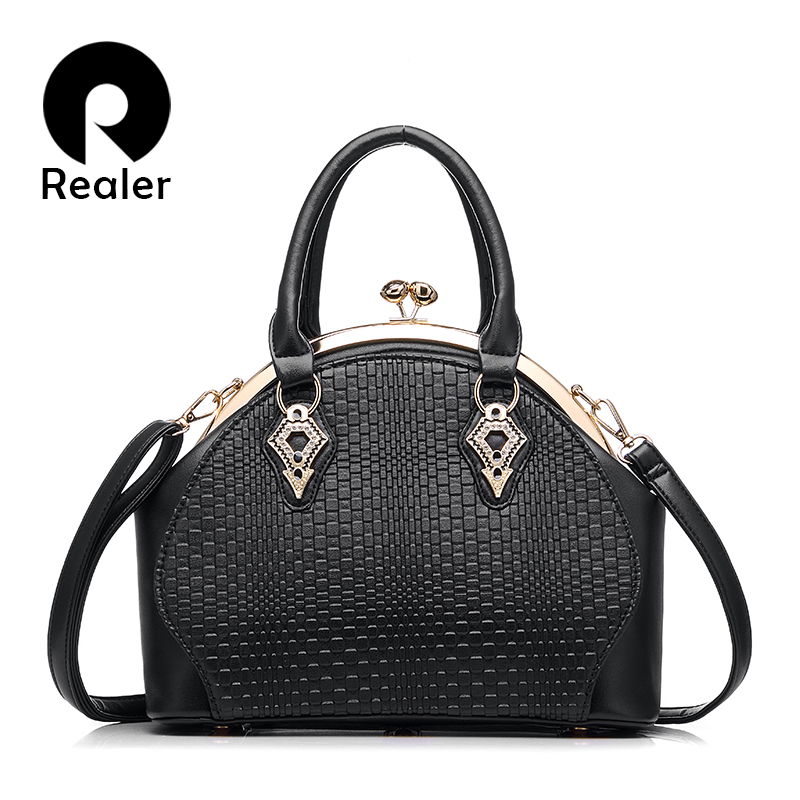 Realer Brand Design Handbags Women Fashion Black Tote Bag High Quality PU Leather Shoulder Bags Ladies Zipper Messenger Bag