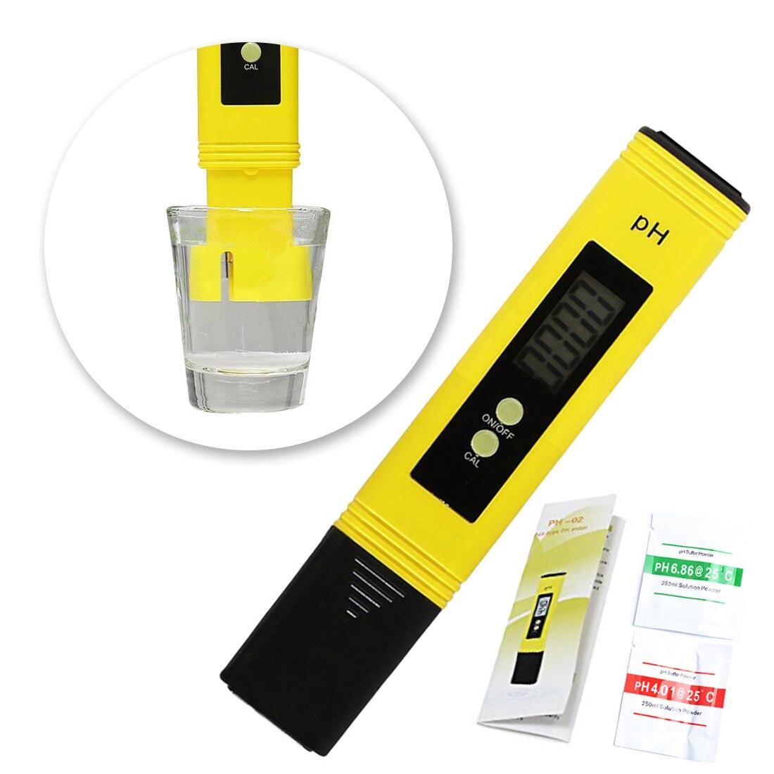 Lcd digital medidor de ph caneta tester precisão 0.1 aquário piscina água vinho urina calibração automática nova protable