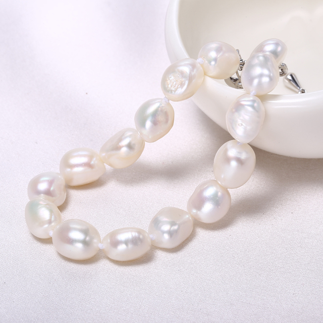 Gold Plated 9-10mm Natural Freshwater Pearl Baroque Bracelet