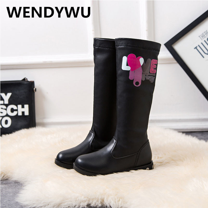 WENDYWU autumn winter brand knee high boots for baby girls genuine leather shoes children black boots toddler fashion boots