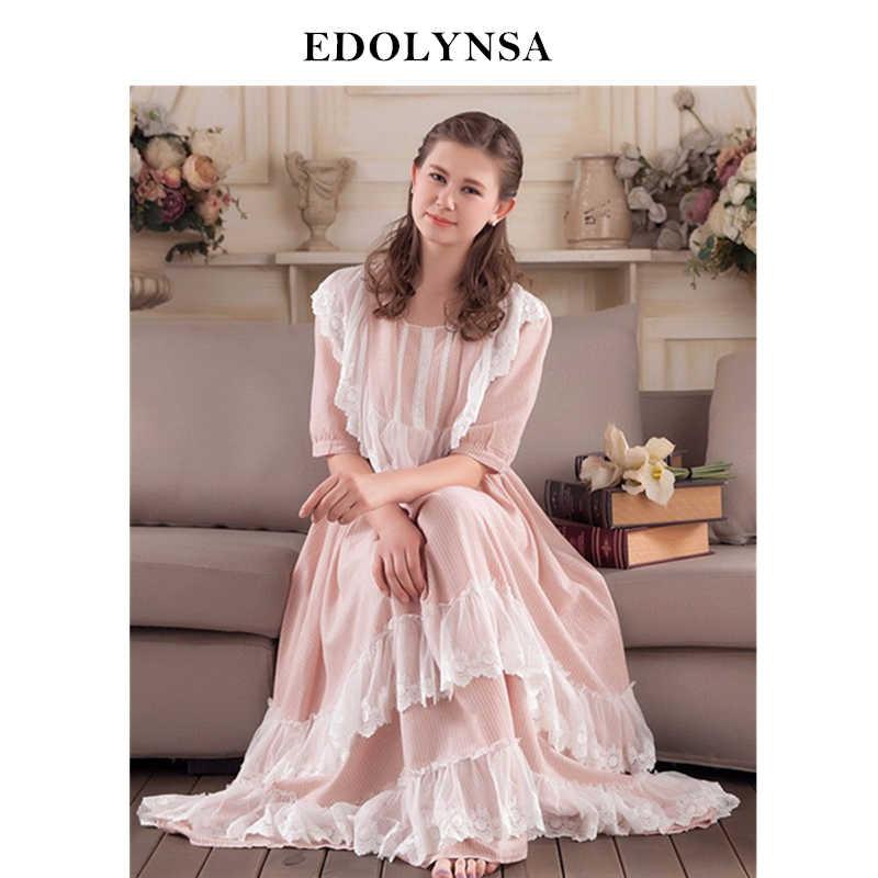 43893dc7ca Lace Nightgowns   Sleepshirts Vintage Home Clothing Elegant Sleepwear Robes Women  Sleep   Lounge Cotton Fabric