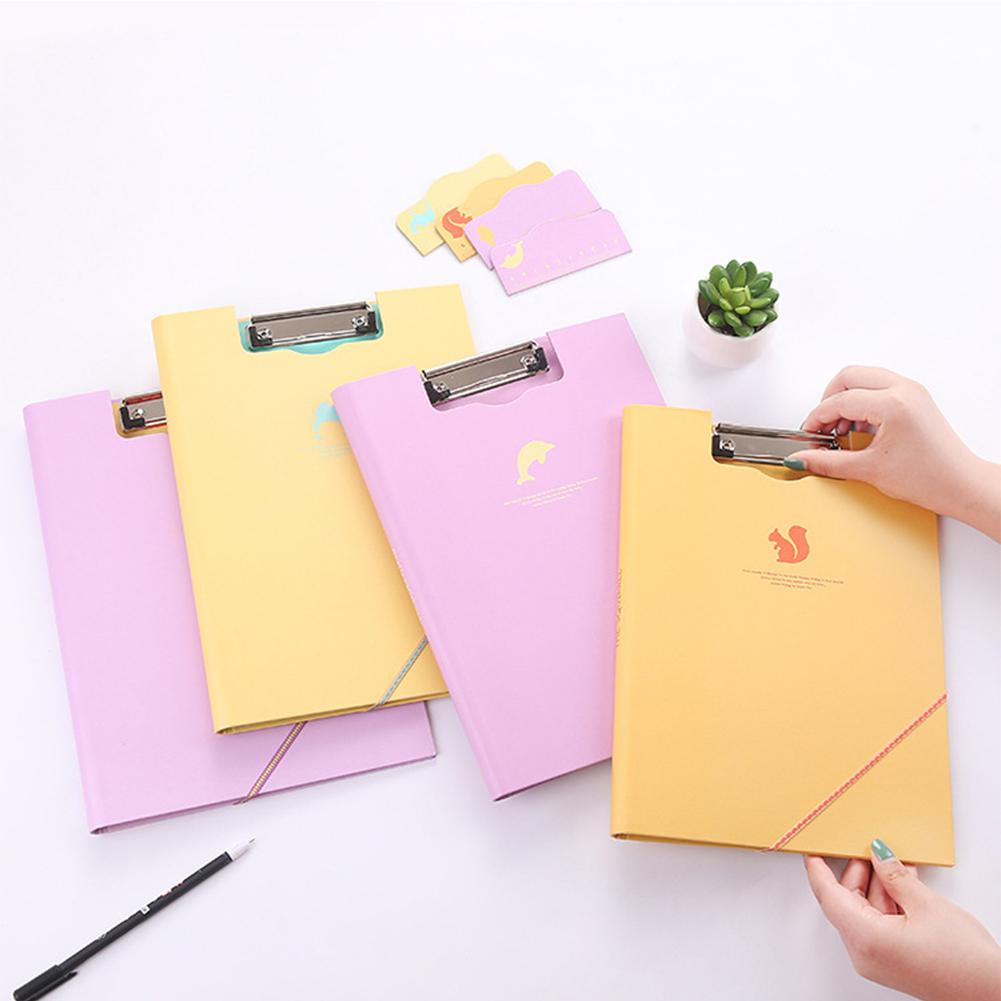 A4 Size 1PC Documents Folder Paper Clip Clamp File Storage Home Office Organizer (Random Style) R20