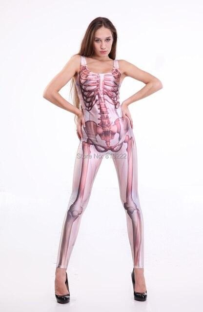 5ac668e35bef Hot Muscle and Bone Catsuit Women s Jumpsuit Skeleton Bones Punk Romper  Jumpsuit for DS dancers Halloween Party-Black White
